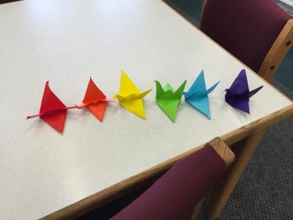 origami cranes horizontal