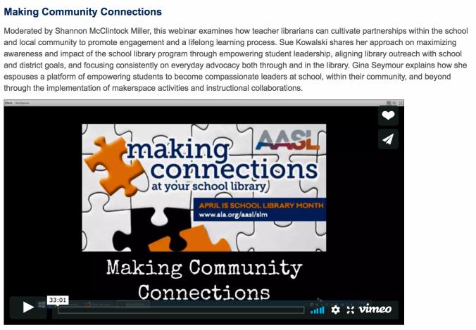 making connections webinar aasl